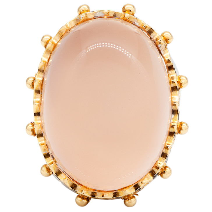18K White & Rose Gold 31.80 Carat Rose Quartz Black Diamond Ring