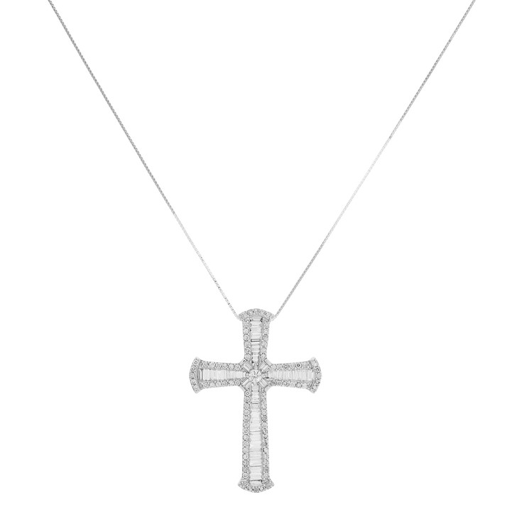 18K White Gold 1.19 Carat Baguette Diamond Cross