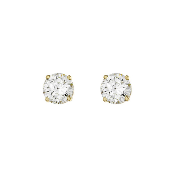 14K Yellow Gold 1.22 Carat Diamond Stud Earrings
