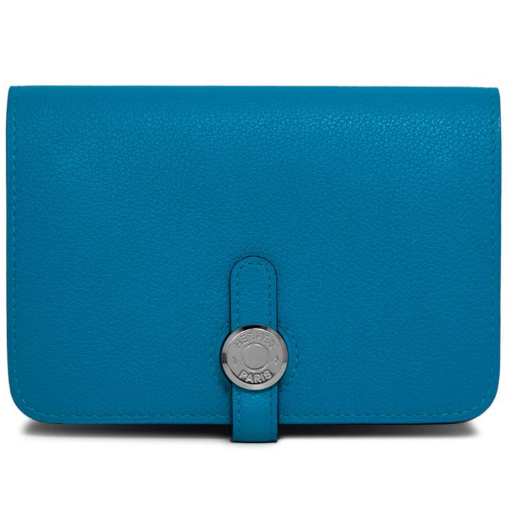 Hermes Blue Zanzibar Evercolor Dogon Compact Wallet