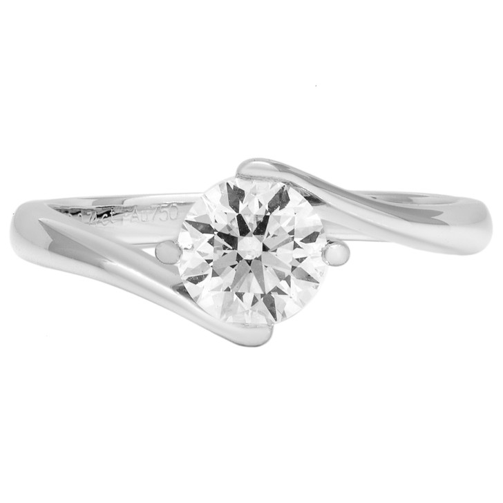 18K White Gold 0.74 Carat Diamond Solitaire Ring