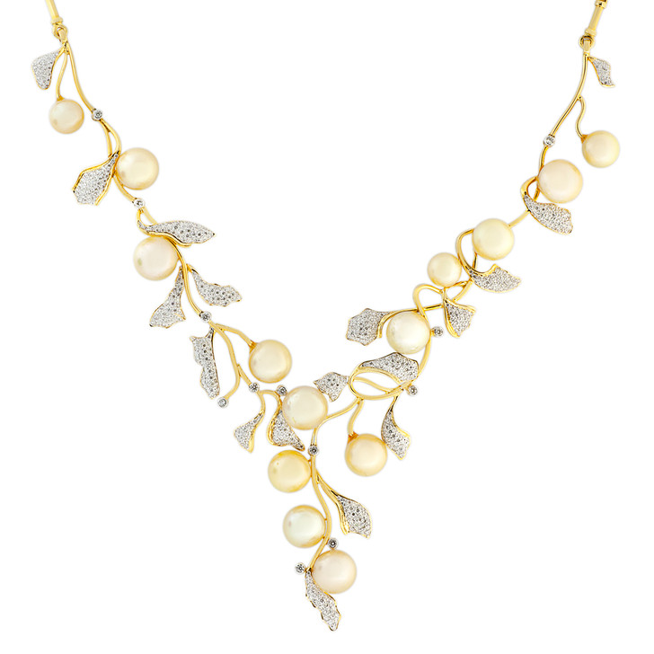 18K Yellow Gold South Sea Pearl 4.26 Carat Pave Diamond Necklace