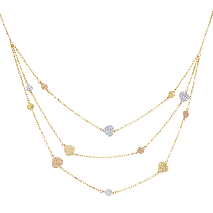 18K Tri Gold Heart Necklace