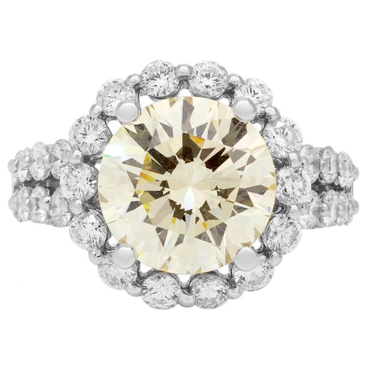 18K White Gold 5.91 Carat Champagne Diamond Ring