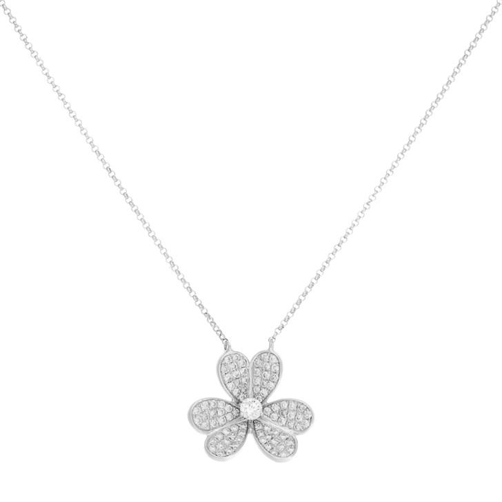 18K White Gold Diamond Blossom Pendant