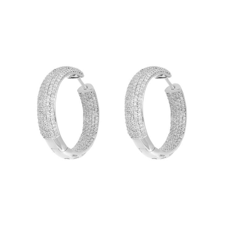 14K White Gold 1.88 Carat Diamond Hoop Earrings