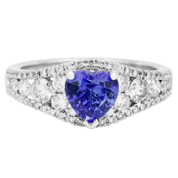 18K White Gold 1.20 Carat Sapphire Diamond Ring