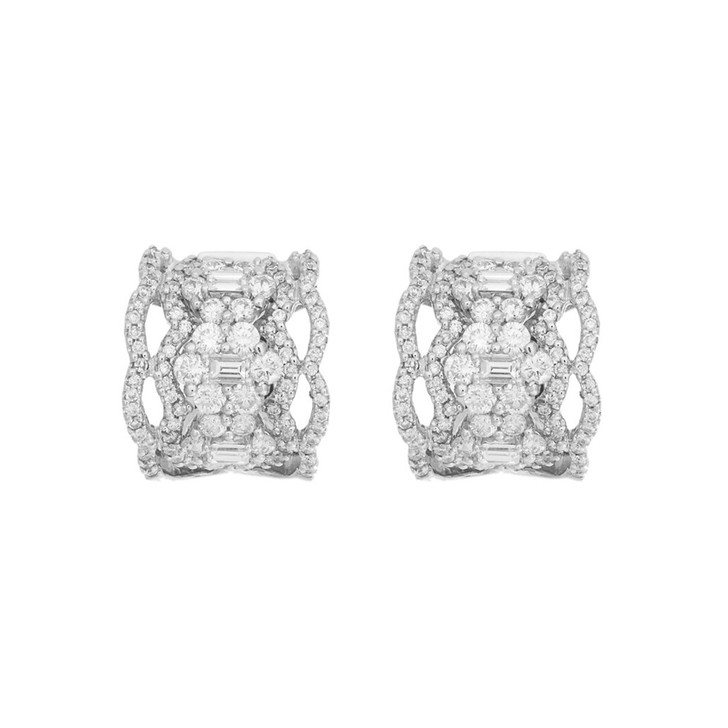 18K White Gold 2.19 Carat Diamond Hoop Earrings