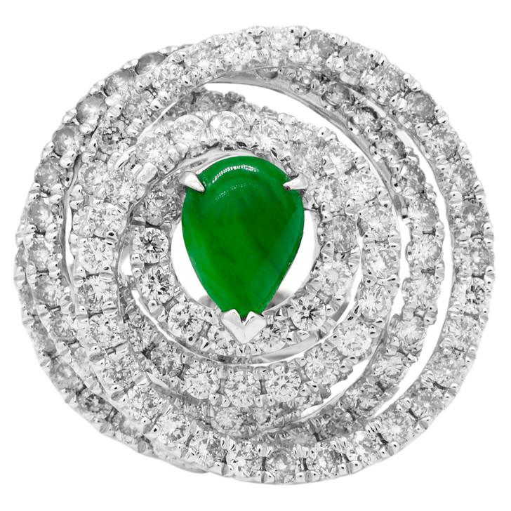 18K White Gold Jadeite 4.08 Carat Diamond Ring