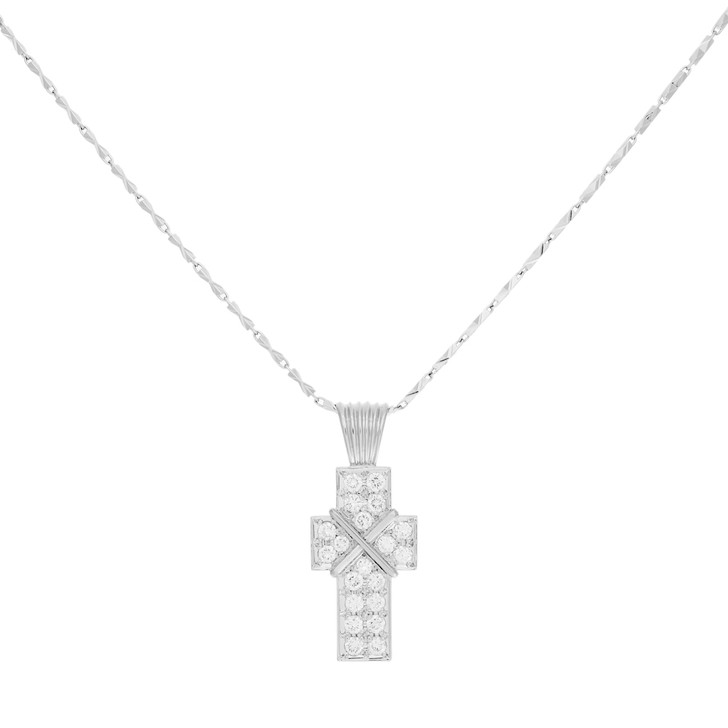 Platinum 1.34 Carat Diamond Cross Pendant