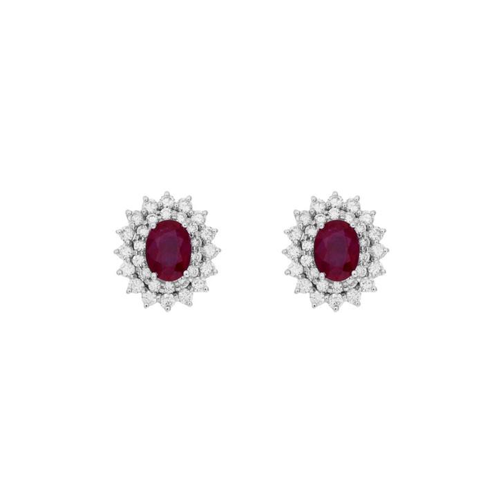 18K White Gold 2.06 Carat Ruby Diamond Earrings