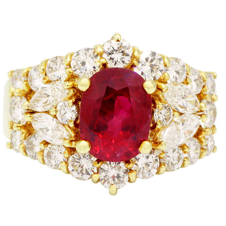 18K Yellow Gold 1.80 Carat Ruby Diamond Ring