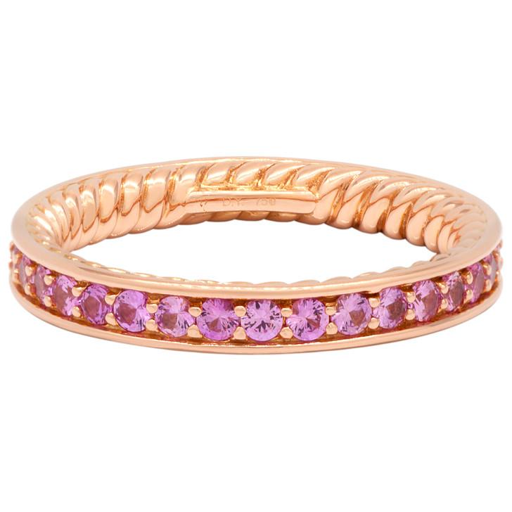 David Yurman 18K Rose Gold Pink Sapphire Eden Band Ring