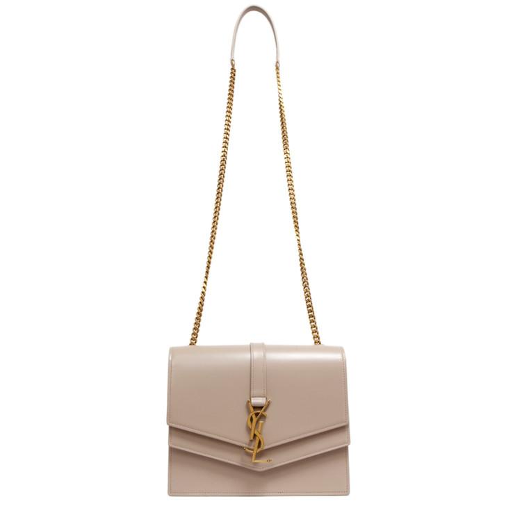Saint Laurent Light Natural Smooth Calfskin Monogram Medium Sulpice Shoulder Bag