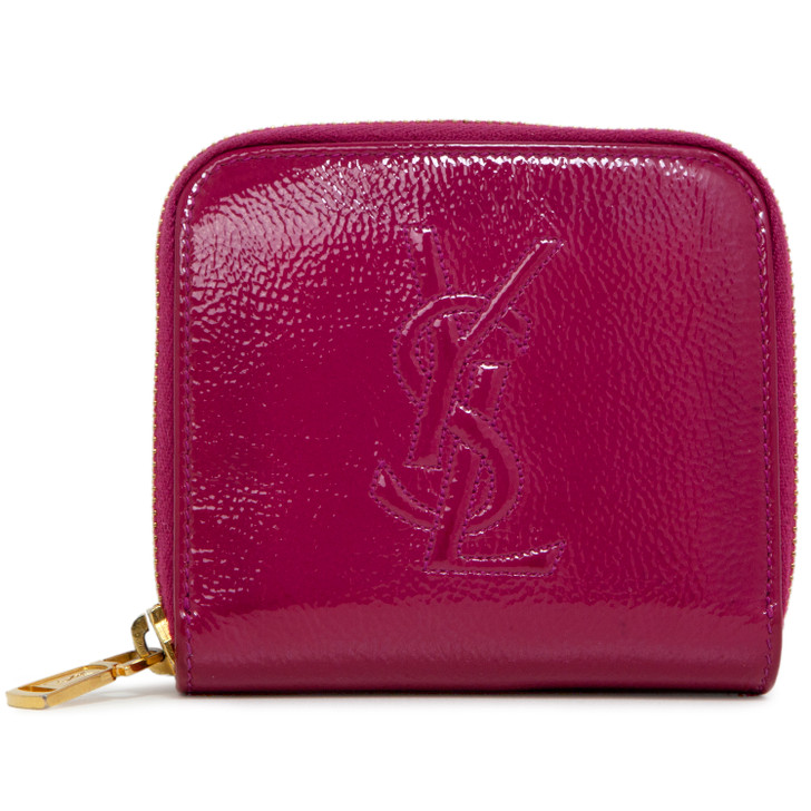 Saint Laurent Fuchsia Patent Belle de Jour Zip Around French Wallet