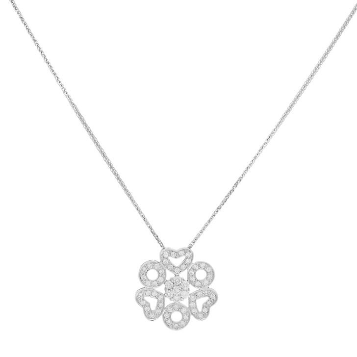 18K White Gold 1.17 Carat Diamond Hearts Pendant