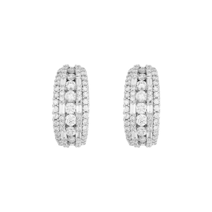 18K White Gold 2.28 Carat Diamond Hoop Earrings