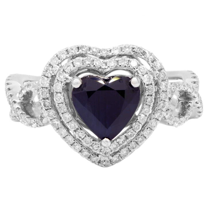 18K White Gold 1.05 Carat Heart Shaped Sapphire Diamond Ring