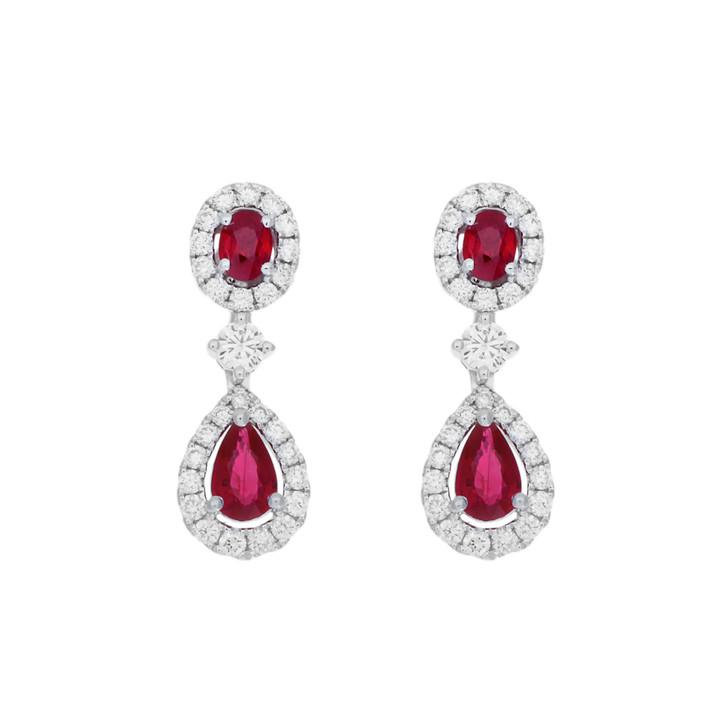 18K White Gold 1.58 Carat Ruby Diamond Drop Earrings