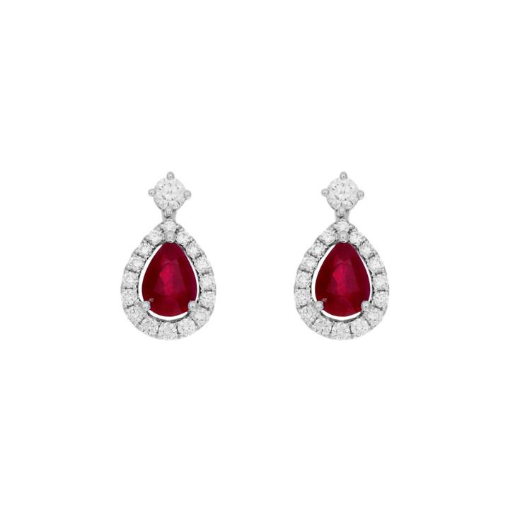 18K White Gold 1.76 Carat Ruby Diamond Drop Earrings