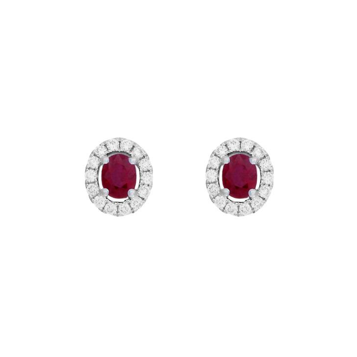 18K White Gold 0.64 Carat Ruby Diamond Earrings