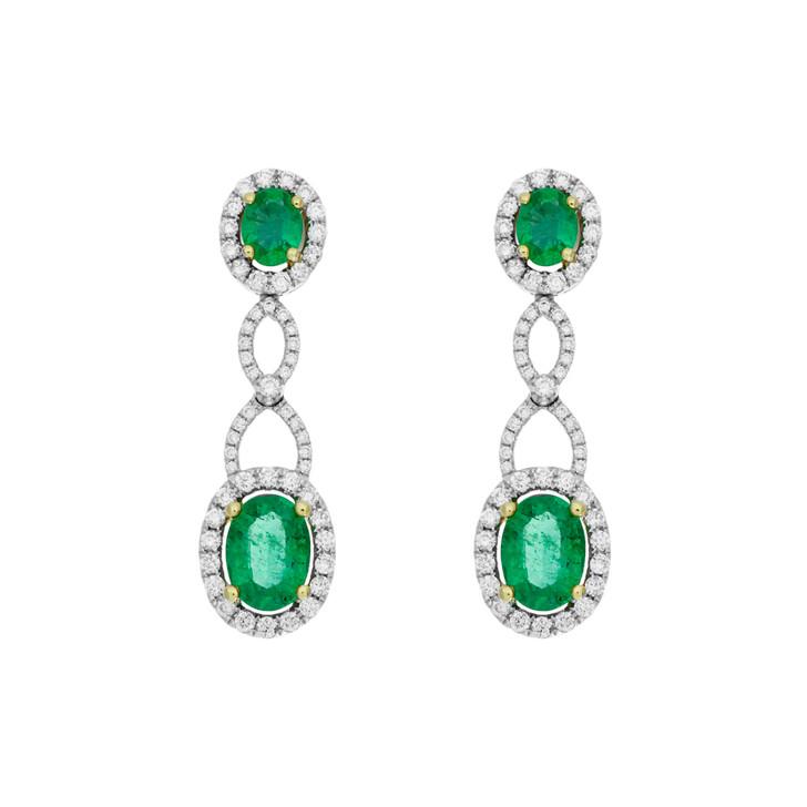 18K White Gold 2.18 Carat Emerald Diamond Drop Earrings