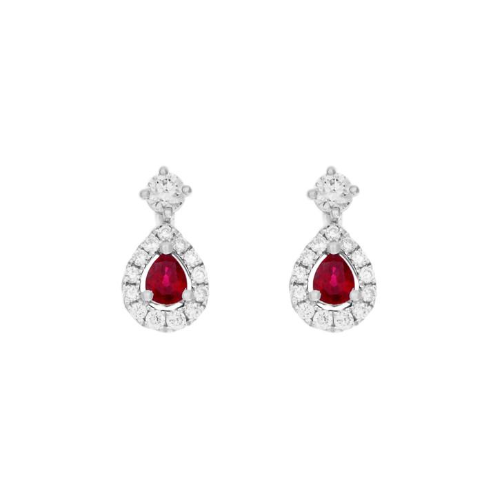 18K White Gold 0.56 Carat Ruby Diamond Drop Earrings