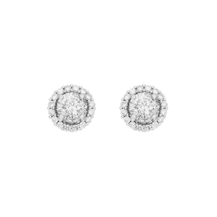 18K White Gold 1.26 Carat Diamond Halo Earrings