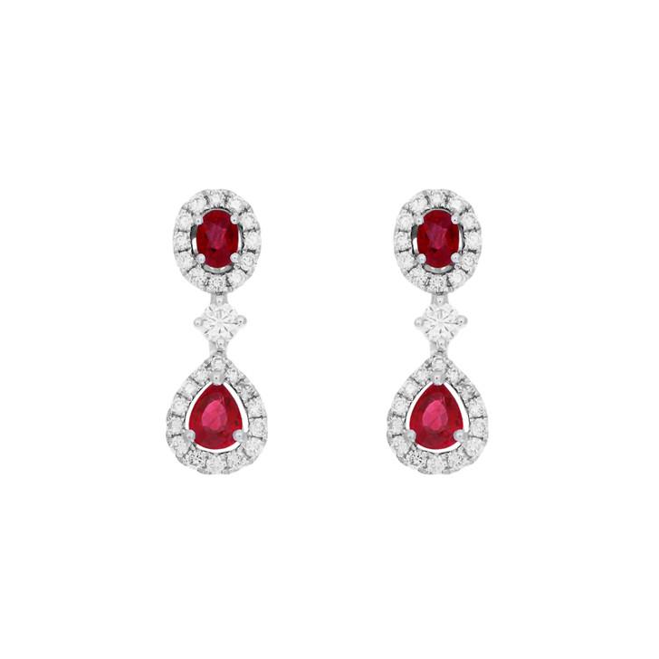 18K White Gold 1.34 Carat Ruby Diamond Drop Earrings