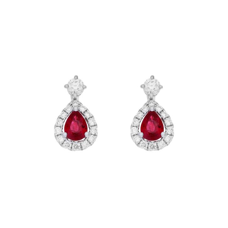 18K White Gold 0.82 Carat Ruby Diamond Drop Earrings