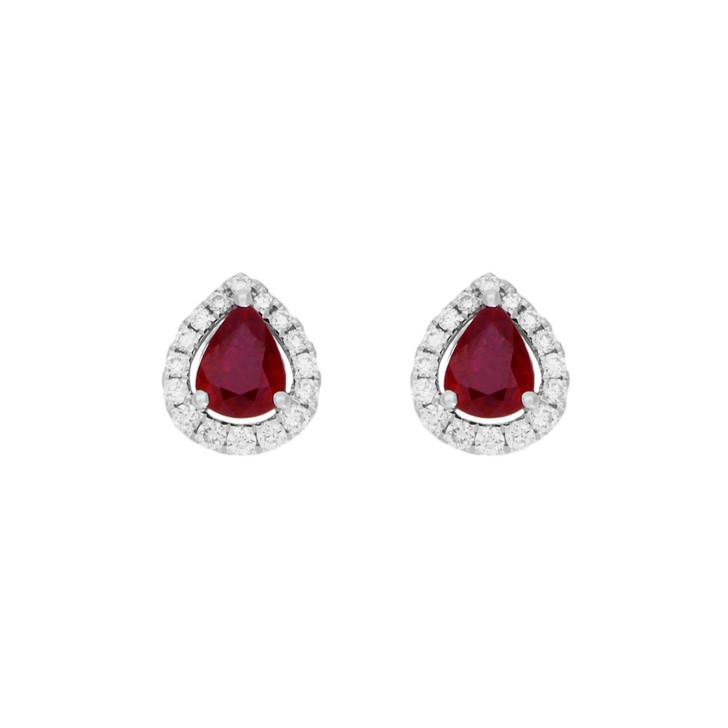 18K White Gold 1.58 Carat Ruby Diamond Earrings