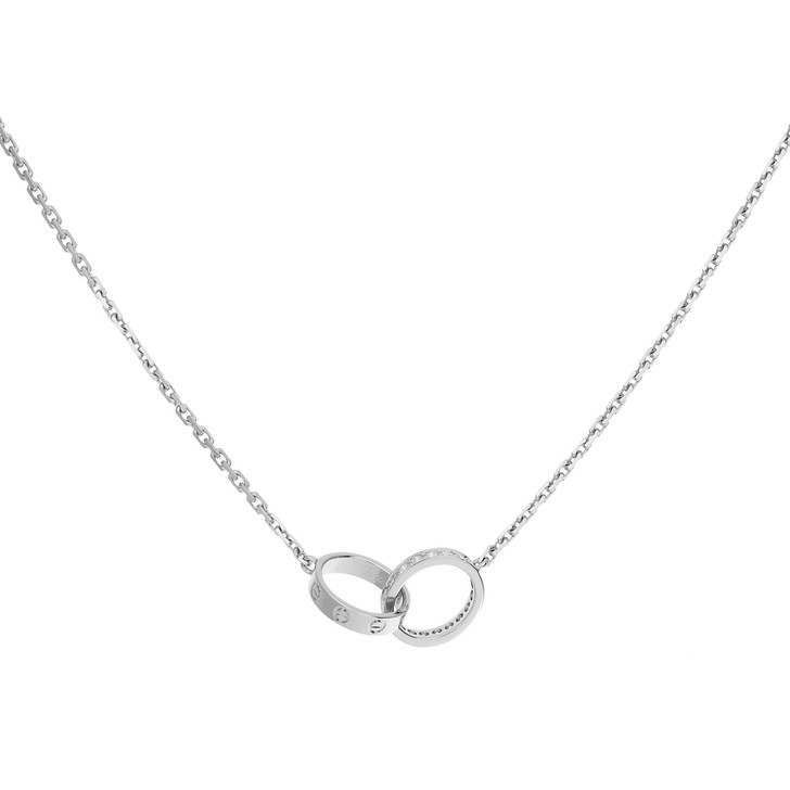 Cartier 18K White Gold Diamond Love Necklace