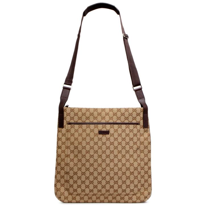 Gucci Brown Monogram Canvas Large Messenger Bag