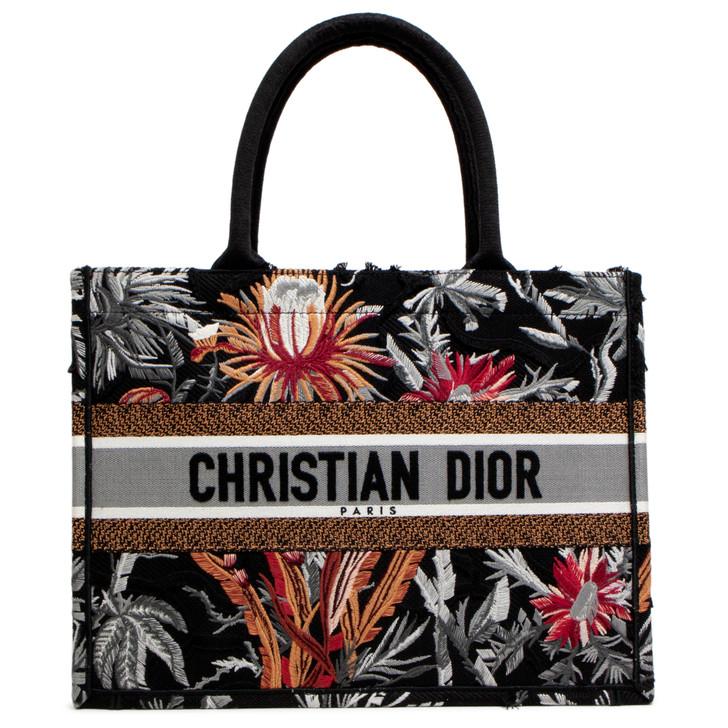 Christian Dior Black Multicolor Embroidered Toile De Jouy Tropicalia Small Book Tote