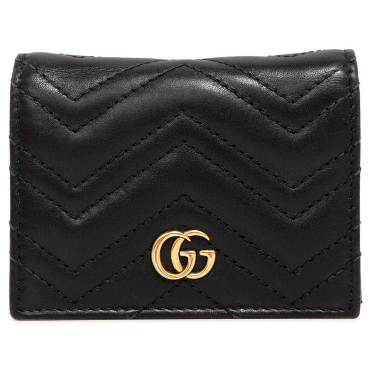 Gucci Black Calfskin GG Marmont Card Case Wallet