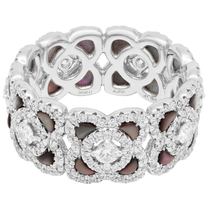 De Beers 18K White Gold Mother of Pearl Enchanted Lotus Band