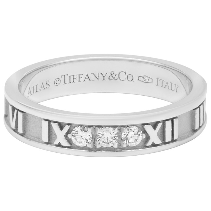 Tiffany & Co. 18K White Gold &  Diamond Atlas Ring