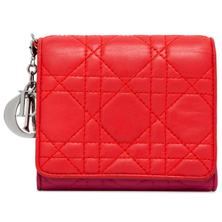 Christian Dior Bicolor Lambskin Cannage Lady Dior Wallet