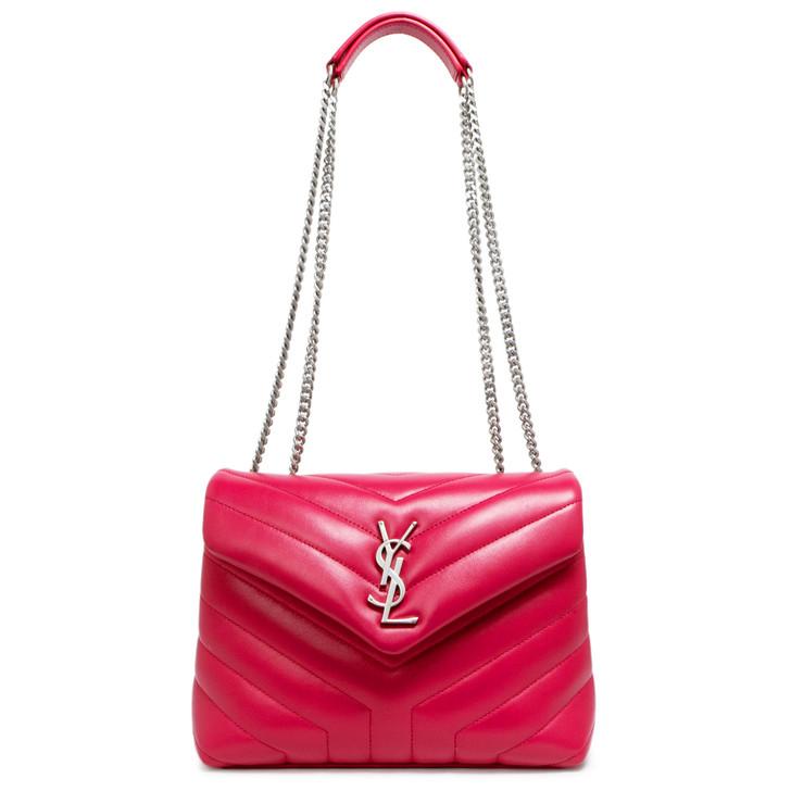 Saint Laurent Pink Calfskin Matelasse Y Small Loulou Shoulder Bag