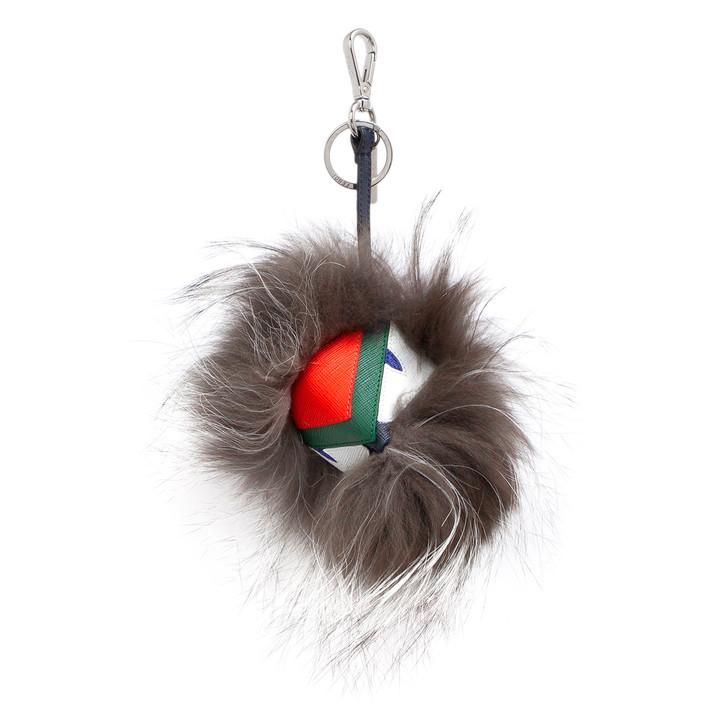 Fendi Grey Fox Fur Watchout Cube Monster Bag Bug Charm