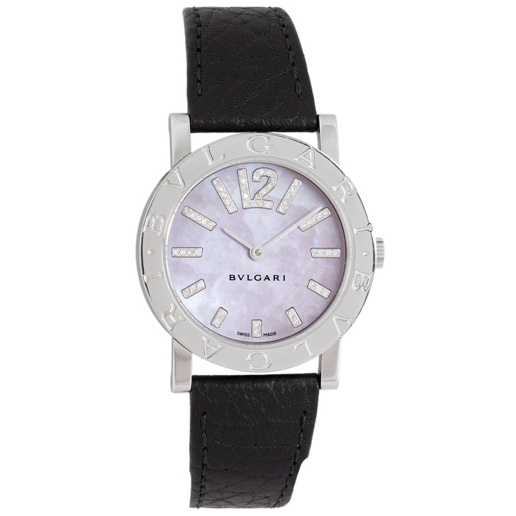 Bvlgari Stainless Steel, Mother of Pearl & Diamond Automatic Ladies Watch BB 33 SL