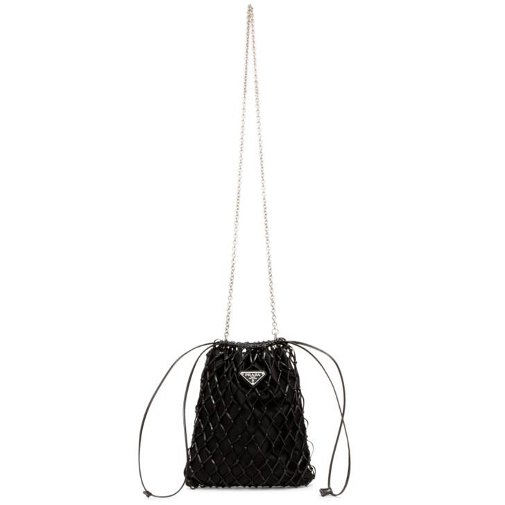 Prada Black Satin Net Chain Bag