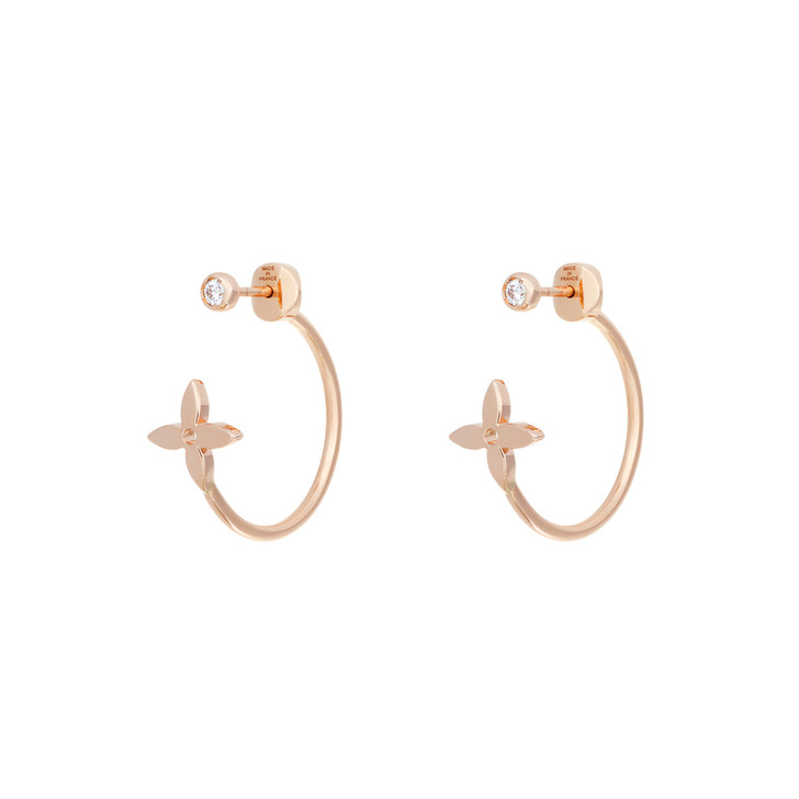 Louis Vuitton 18K Pink Gold Diamond Idylle Blossom Small Hoop Earrings