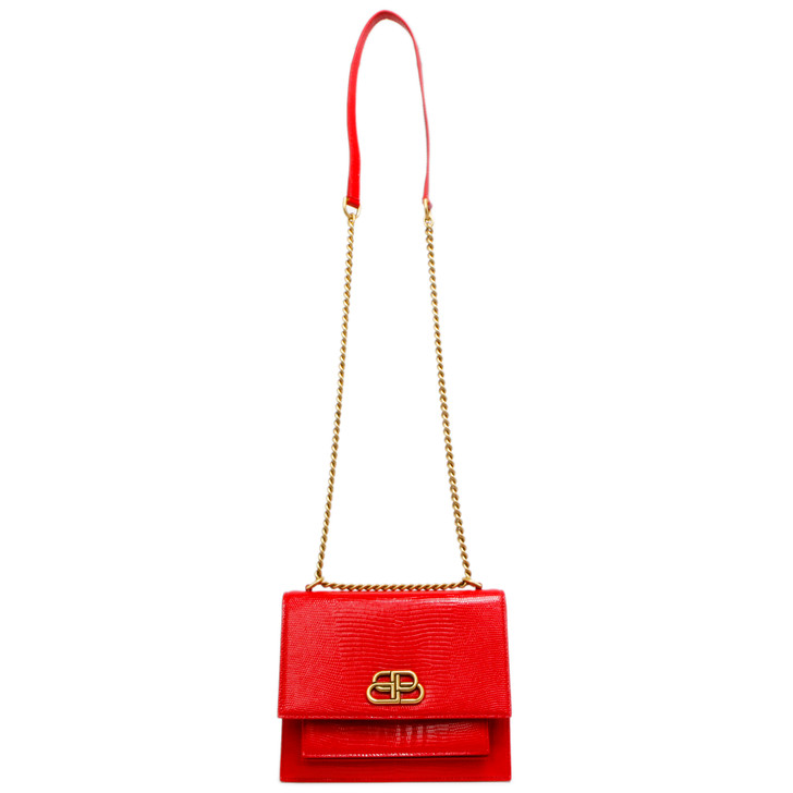 Balenciaga Red Lizard Embossed Patent Leather Small Sharp Chain Bag