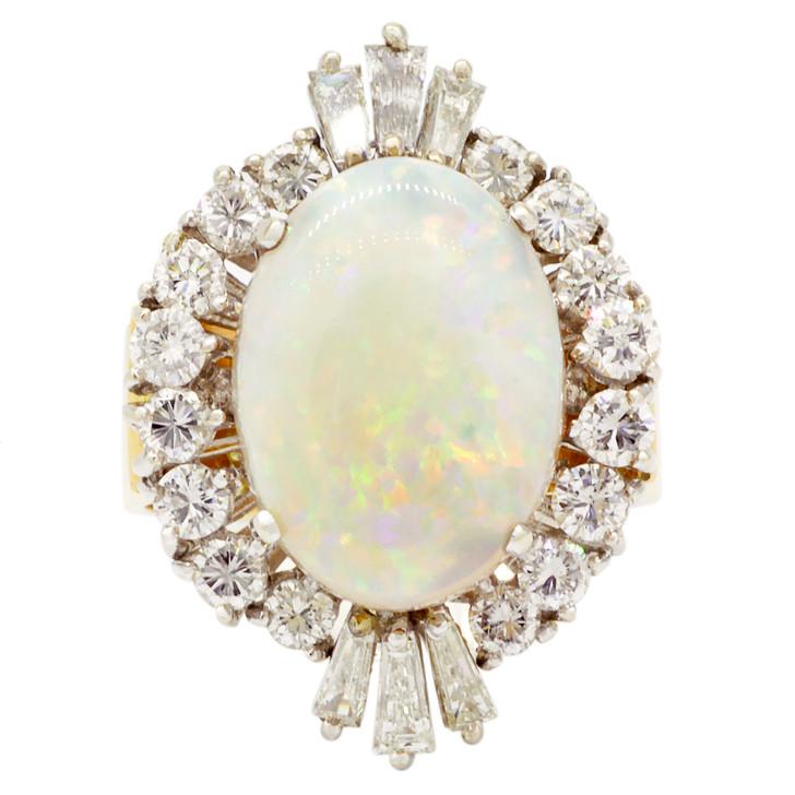 18K Yellow Gold 5.26 Carat Opal Diamond Ring