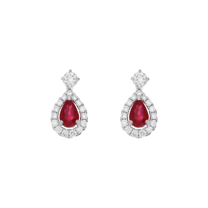 18K White Gold 1.04 Carat Ruby Diamond Drop Earrings