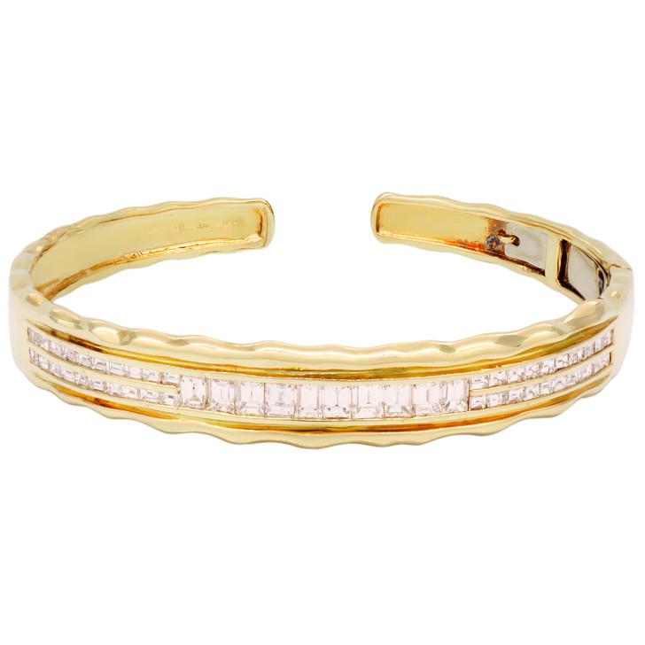 18K Yellow Gold 3.66 Carat Diamond Baguette Bracelet