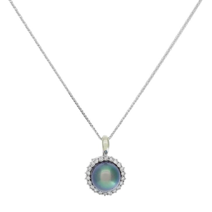 18K White Gold Tahitian Black Pearl Diamond Pendant