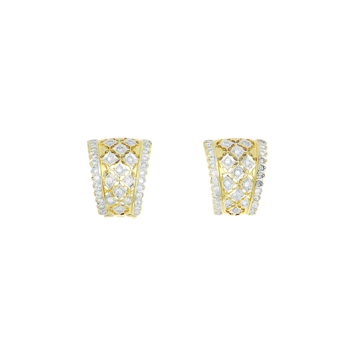 18K Yellow Gold 0.72 Carat Diamond Half Hoop Earrings