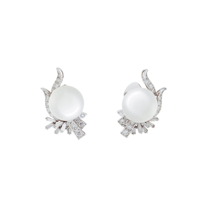 14K White Gold South Sea Pearl Diamond Earrings